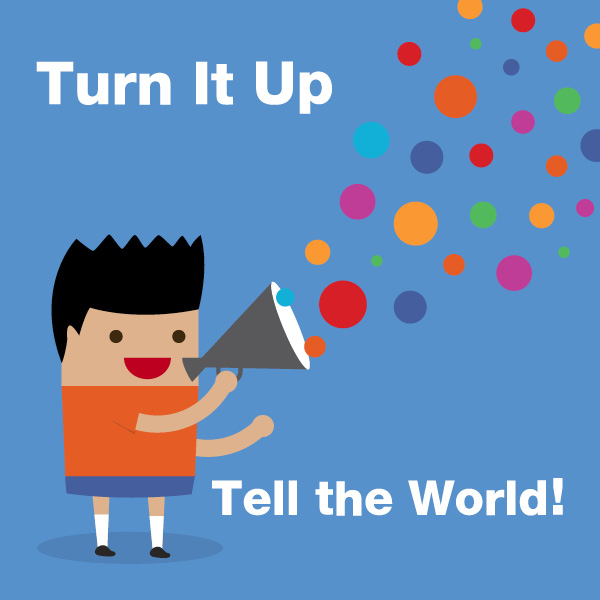 The theme graphic forBookshare's Summer Reading Challenge, Turn It Up & Tell the World, shows a member holding a megaphone with colored circles coming out.